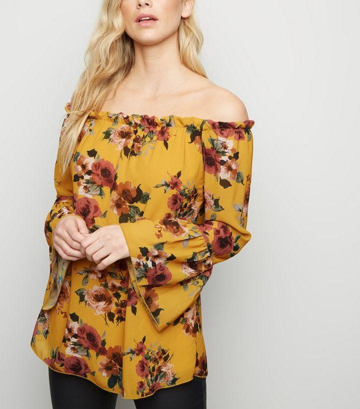 e67ff1153f2a5 Mela Mustard Floral Print Bardot Top