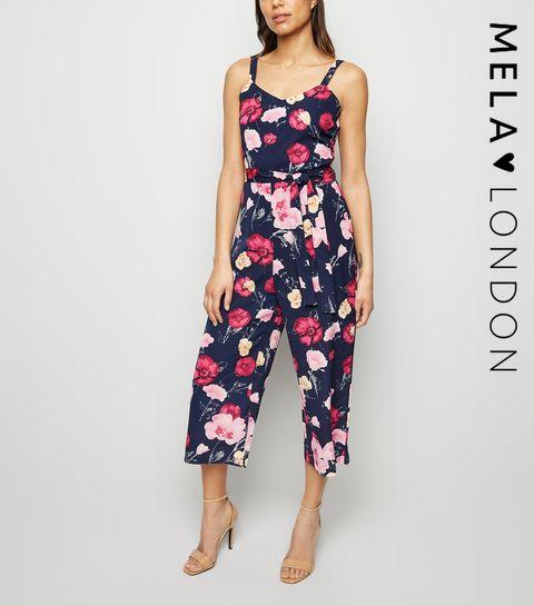e11b6bd1af ... Mela Navy Floral Culotte Jumpsuit ...