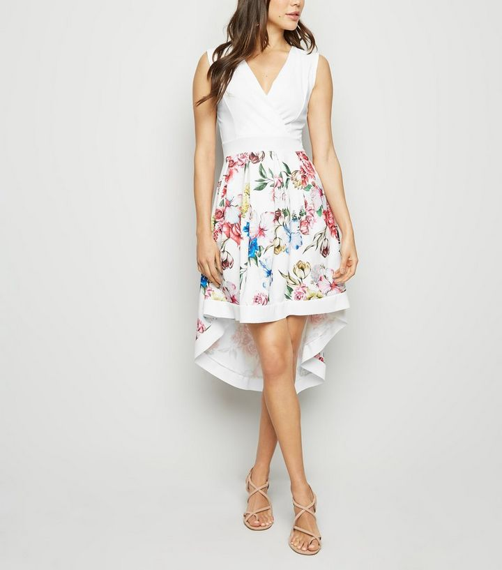 8a13e50361 Mela White Floral Dip Hem Dress
