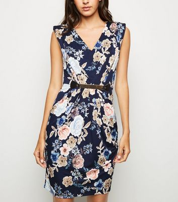 Mela Navy Floral Belted Dress