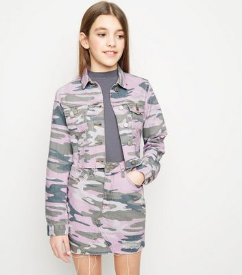 Girls Lilac Camo Denim Jacket