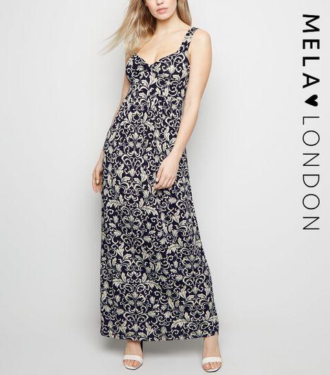 ba41d3c422b73c ... Mela Blue Floral Maxi Dress ...