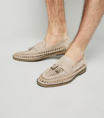 Stone Suedette Woven Tassel Front Loafers