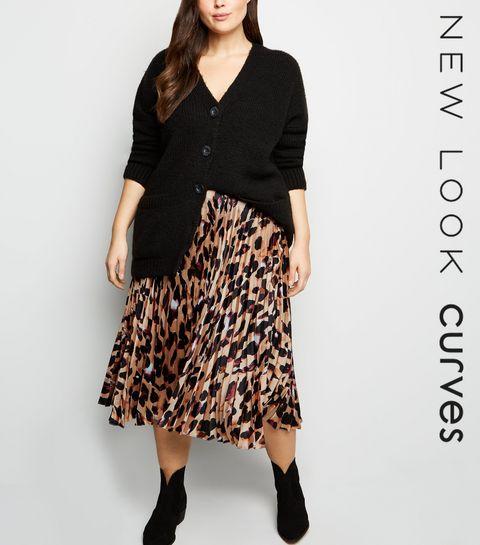 ad7d120e7af ... Curves Brown Leopard Print Pleated Satin Midi Skirt ...