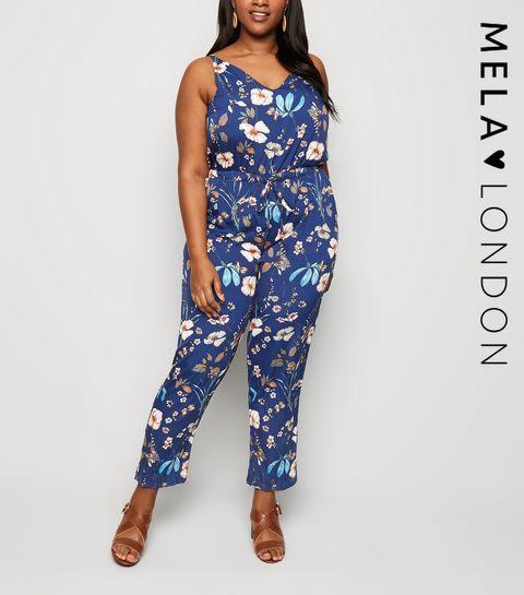 439c0cbda33c ... Mela Blue Floral Print Tie Waist Jumpsuit ...