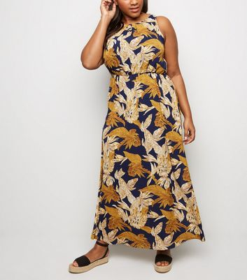 Mela Curves Navy Tropical Maxi Dress