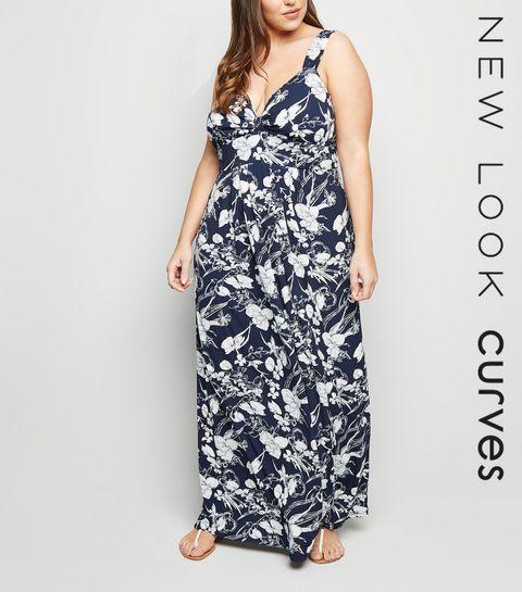 ... Mela Curves Navy Floral Maxi Dress ... 6ad0095874a