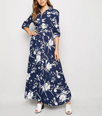 Blue Vanilla Blue Floral Maxi Shirt Dress