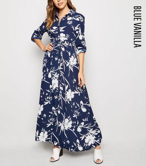 38dd6069c2 ... Blue Vanilla Blue Floral Maxi Shirt Dress ...