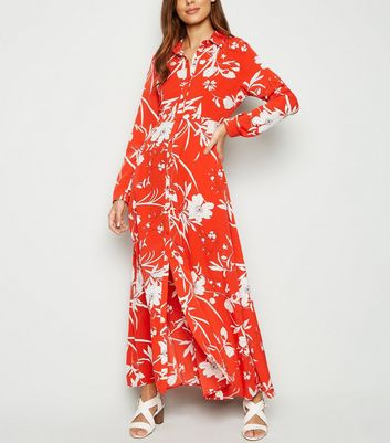 Blue Vanilla Red Floral Maxi Shirt Dress