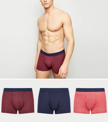 3 Pack Red Tile Print Trunks