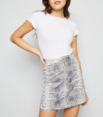 Grey Snake Print Ring Zip Denim Skirt