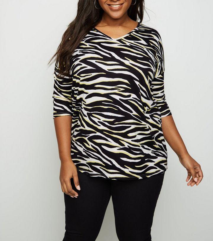 5c9e98f0d77a Curves Black Zebra Print Soft Touch T-Shirt   New Look