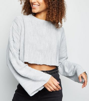 Cameo Rose Grey Stripe Cropped Jumper