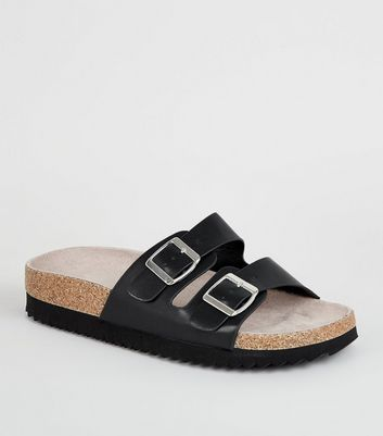 Wide Fit Black Leather-Look Footbed Sliders