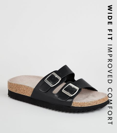 ... Wide Fit Black Leather-Look Footbed Sliders ... 7edba91867d0