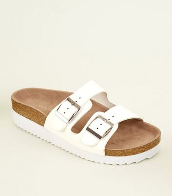 Wide Fit White Leather-Look Strap Sliders