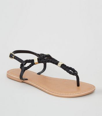 Wide Fit Black Rope Strap Sandals