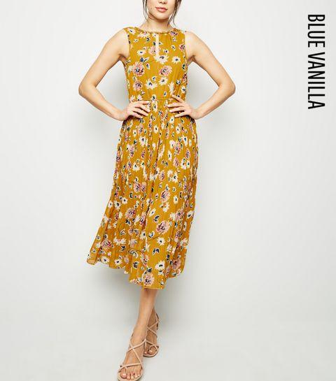 4e48f71e0a ... Blue Vanilla Mustard Floral Pleated Midi Dress ...