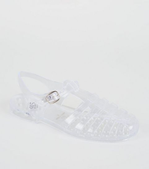 aeee9da1c24 ... Girls Clear Caged T-Bar Jelly Sandals ...