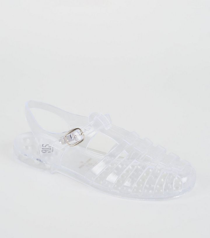 905dd627f9975 Girls Clear Caged T-Bar Jelly Sandals