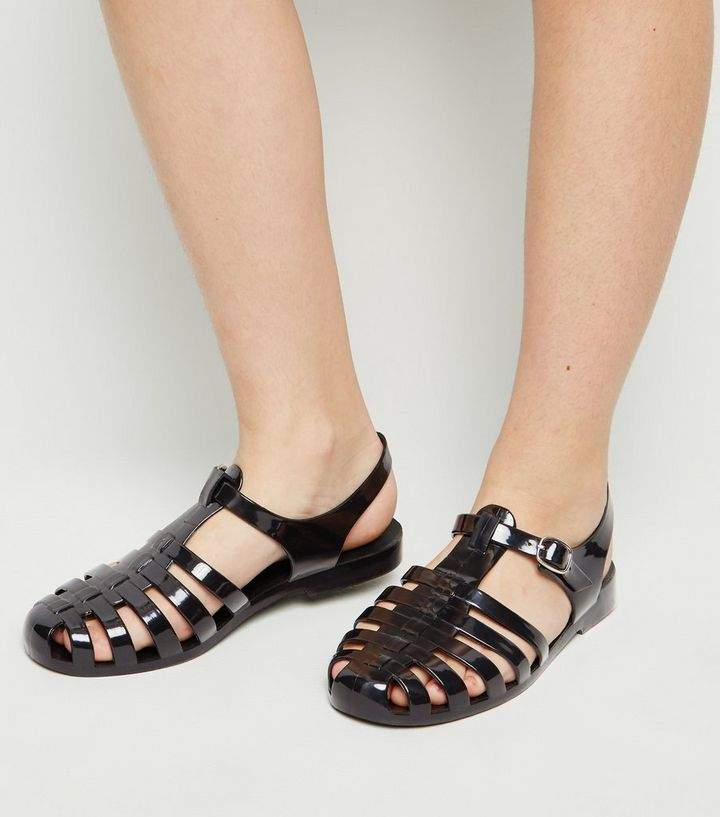 0caf4c8e2dd Girls Black Caged T-Bar Jelly Sandals Add to Saved Items Remove from Saved  Items