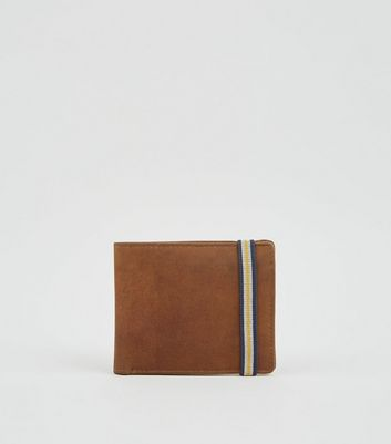 Tan Leather Stripe Strap Wallet