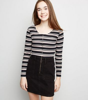 Girls Black Ring Zip Utility Mini Skirt