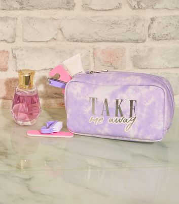 Lilac Tie Dye Slogan Make-Up Bag