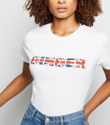 White Ginger Union Jack Slogan T-Shirt