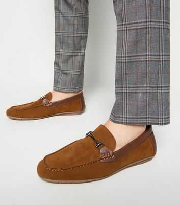 Tan Suedette Bar Trim Loafers