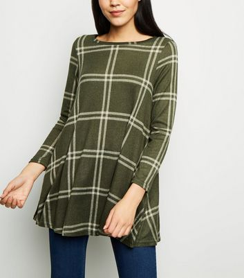 Apricot Khaki Check Swing Dress