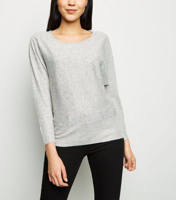 Apricot Grey Marl Studded Batwing Jumper
