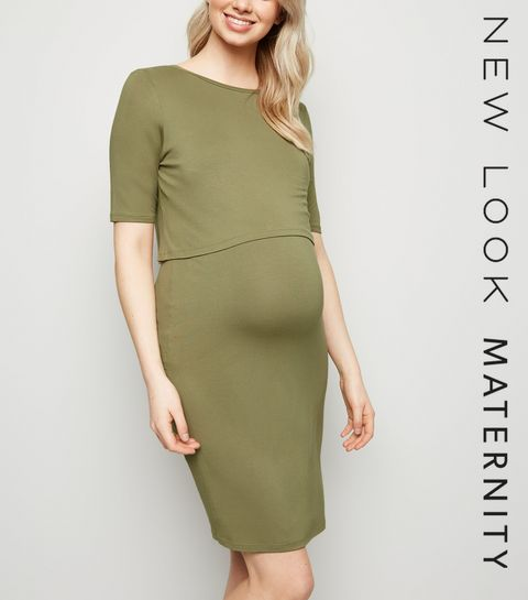 eb5227dbc34 ... Maternity Olive Layered Nursing Midi Dress ...