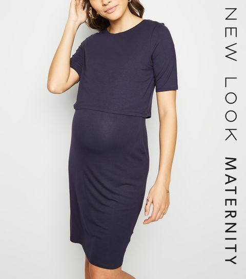 406091032bc Maternity Navy Layered Nursing Dress · Maternity Navy Layered Nursing Dress  ...