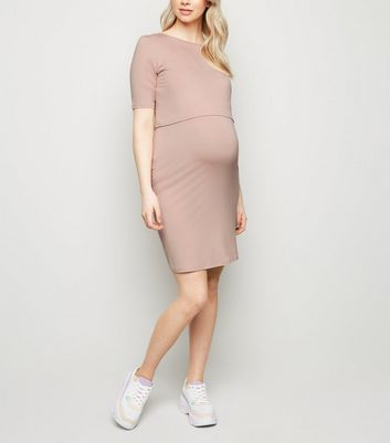 Maternity Pale Pink Layered Nursing Midi Dress