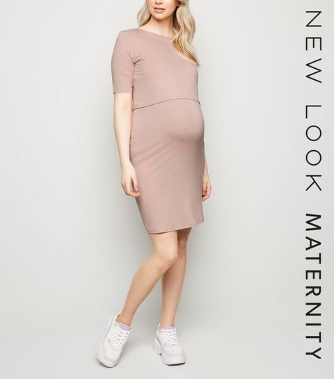 9ffff367e3 ... Maternity Pale Pink Layered Nursing Midi Dress ...