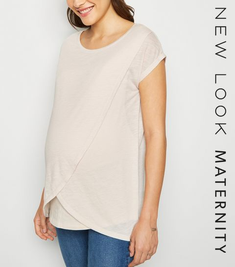 06140ef21d521 ... Maternity Stone Marl Nursing Wrap T-Shirt ...