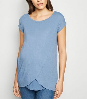 Maternity Blue Nursing Wrap T-Shirt