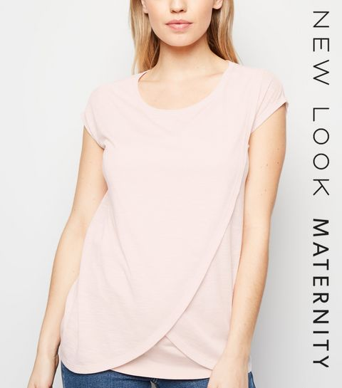 c137decef5 ... Maternity Pink Marl Nursing Wrap T-Shirt ...