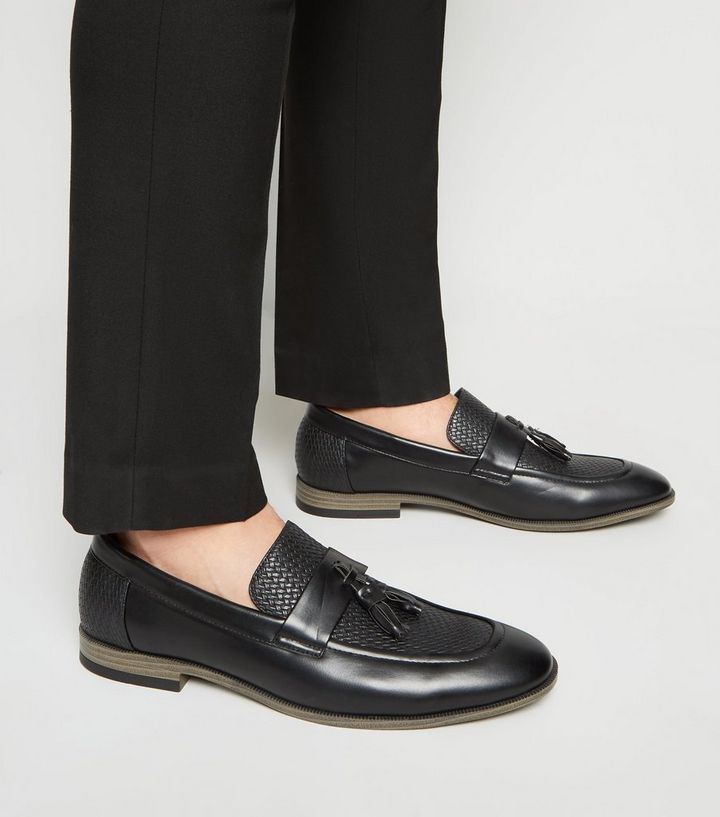 3c3a63a60be79 Black Leather-Look Woven Tassel Loafers   New Look