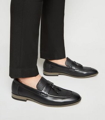 Black Leather-Look Woven Tassel Loafers