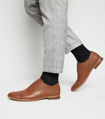 Tan Leather-Look Oxford Shoes