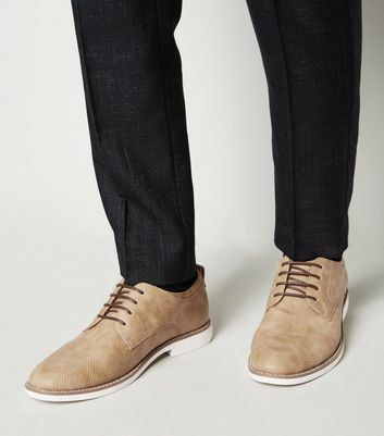 Stone Leather-Look Lace Up Derby Shoes