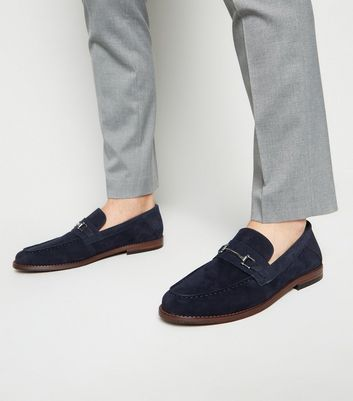 Navy Suedette Metal Bar High Vamp Loafers