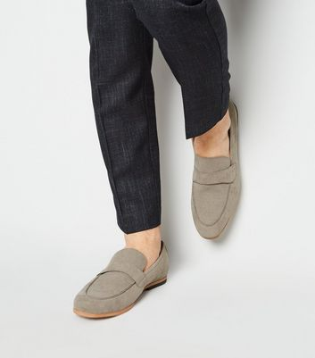 Pale Grey Suedette Woven Loafers