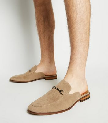 Stone Suedette Metal Bar Loafers