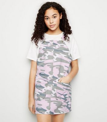Girls Pink Camo Denim Pinafore Dress
