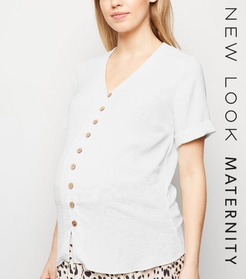 e6a9a380521a6 ... Maternity Off White Button Front Short Sleeve Shirt ...