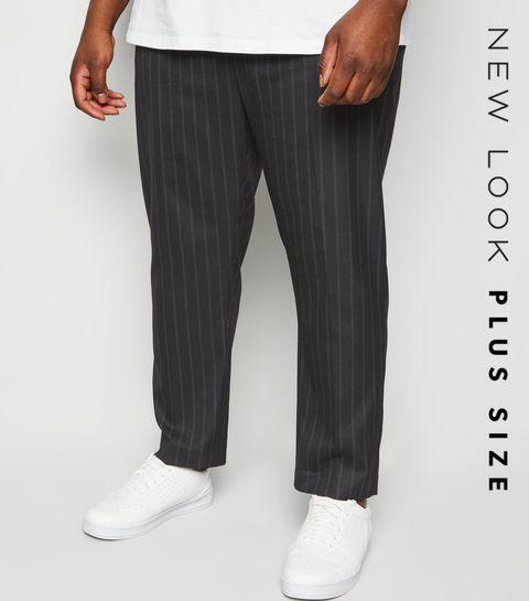 d7b130a30d0 ... Plus Size Black Pinstripe Slim Crop Trousers ...